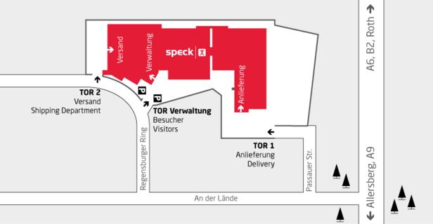 Anfahrt zum Werk von Speck in Roth